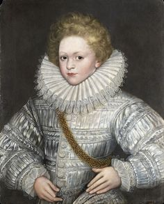 """ENGLISH SCHOOL C16TH, Portrait of a Young Boy in white; oil on panel; 24 1/2 x 19 3/4 """", 62 x 50 cm"""