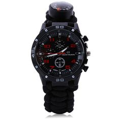 Multifuctional Survival Sport Watch Paracord Bracelet Scraper Whistle Thermometer Flint Fire Starter Gear Bangle Watch