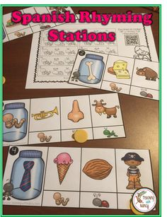 Three Rhyming Stations in Spanish. Perfect for PreK-1st Grade.