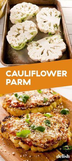 Cauliflower Parmesan Cauliflower Parm is perfect for your vegetarian f. Vegetarian Comfort Food, Tasty Vegetarian Recipes, Vegetable Recipes, Healthy Dinner Recipes, Paleo Recipes, Recipes For Vegetarians, Vegetarian Dinner For One, Vegan Food, Cauliflowers