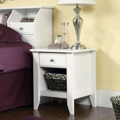 Bedroom Night Stand Bedside Table Furniture Wood Soft White Finish Shelf Drawer for sale online Bedroom Furniture, Home Furniture, Bedroom Decor, Bedroom Ideas, Kitchen Furniture, Kitchen Dining, Master Bedroom, Bedroom Setup, Wooden Bedroom