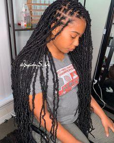 Faux Locs Hairstyles, Braided Hairstyles For Black Women, African Braids Hairstyles, Baddie Hairstyles, Braids For Black Hair, My Hairstyle, School Hairstyles, Prom Hairstyles, Easy Hairstyles