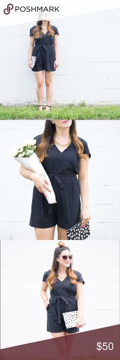 Anthropologie black romper This darling romper has an optional belt bow tie option. Dress it up with heels or wear it throughout your day in flats. This little black romper is a nice change from the little black dress! Anthropologie Dresses