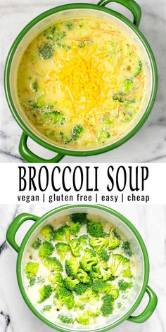 Satisfying and creamy: this Broccoli Soup always hits the spot. So easy to make and ready in under 25 minutes. Filling and no one could ever tell it is entirely vegan. A keeper for lunch, dinner, meal prep that the whole will family love. Broccoli Soup Recipes, Cream Of Broccoli Soup, Cooking Broccoli, Brocoli Soup, Vegetarian Meal Prep, Vegetarian Recipes, Healthy Recipes, On Repeat, Almond Milk