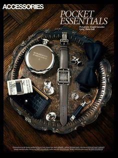 """Pocket Essentials"" for Dress to Kill magazine. Photo by Joseph Saraceno, Judy Inc."