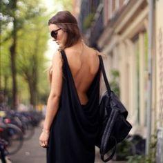 Black Drape Back Dress by Love