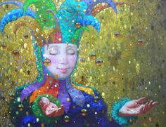 Victor Nizovtsev Paintings and Biography   reminds me of a court Jester, or Mardi Gras festivities. Carnival