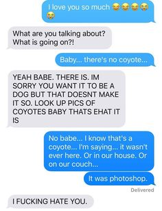 """In Hilariuos Text Exchange, Wife Convinces Her Husband She """"Adopted"""" A Pet Coyote"""