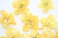 10 Delphinium Blossoms in Lemonade Yellow - silk flowers, artificial flowers