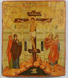 "Russian religious icon, tempera on wood panel, depicting Jesus Christ's crucifixion on the cross at Golgatha (Place of the Skull); His mother the Virgin Mary and disciple St. John at His sides and a skull at his feet. Probably circa 1900 in the manner of the 14th century Novgorod School (for a similar example, see the circa 1360 Novgorod Crucifixion Icon in the collection of the Musee du Louvre, Paris). 13-1/2"" x 11-1/2""."