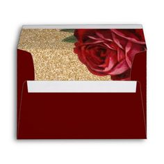 Red Rose and Faux Gold Glitter Envelopes