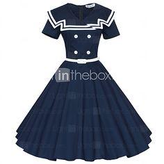 Maggie Tang Women's 50s Vintage Nautical Sailor Rockabilly Hepburn Pinup Business Swing Dress,Plus Size - USD $43.99