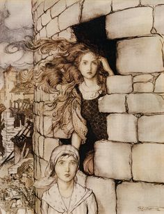 Maid Maleen. I have this one framed in my bedroom. :)     Arthur Rackham - Illustration from Maid Maleen  (via liquidnight)