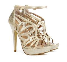 Gold Stephanie Heels with Open toe heel with cut out detail. Features single platform and ankle strap *WooHoo there giving a Free 52 dollar Smashbox Gift With Every Order* #womens #ladies #shoes #wedge #beauty #maryjane #pumps #fashion #pink #black