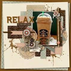 #papercraft #scrapbook #layout. Coffee-time