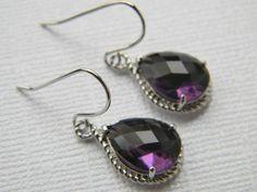 Silver Earrings - Czech Glass