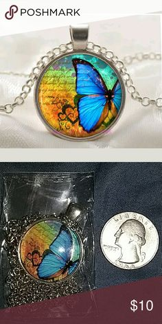 Butterfly necklace Brand new in plastic. Chain length is roughly about 18in. Jewelry Necklaces