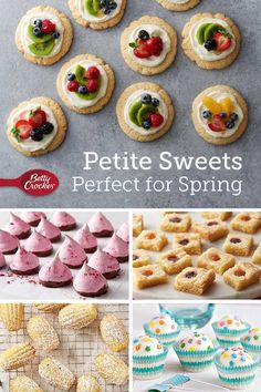 Whether you need a treat for yourself when you're stuck at home, or you're planning for spring graduations, baby showers and brunches, there's a petite sweet treat on this list for you! Party Recipes, Yummy Recipes, Snack Recipes, Cooking Recipes, Yummy Food, Snacks, Lollipop Cake, Cheesecake Bites, Holiday Appetizers