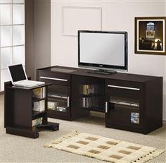 This versatile entertainment center includes a slide out laptop caddy. Just slide the laptop caddy into place when not in use  and charge your laptop, also features additional storage for all your digital components. Finished in cappuccino.