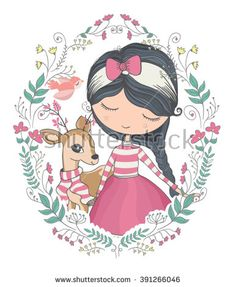 girl vector/T-shirt print/dear vector/animal pattern/animal vector/cute girl vector/Book illustrations for children/Romantic hand drawing poster/cartoon character/For apparel or other uses in vector.