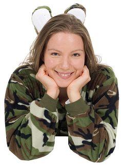 Big Feet Pajamas Adult Green Camouflage Fleece One Piece Footy $48 - SHOP http://www.thepajamacompany.com/store/17787.html?category_id=10883