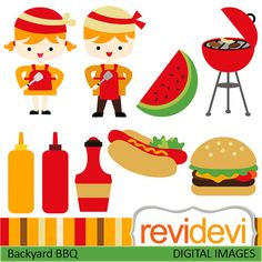 Clipart Backyard BBQ 07386.. Commercial use graphic by revidevi