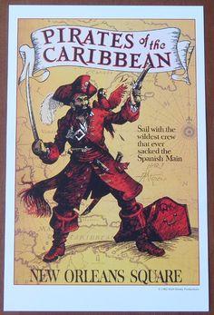Vintage Disneyland Pirates of the Caribbean poster.