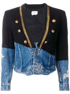 Greg Lauren – Designer Labels for Women – Farfetch Winter Outfits, Casual Outfits, Casual Clothes, Designer Denim Jacket, Military Style Coats, Military Fashion, Military Clothing, Denim Patchwork, Kimono Jacket