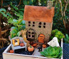 Halloween Miniature Garden Planter ~ Wooden Box Set ~ 3 Halloween Figurine…