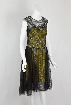 1920s Clothing at Vintage Textile: #7417 Chantilly lace flapper dress