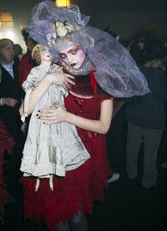 Sasha Pivovarova backstage at John Galliano Fall 2007