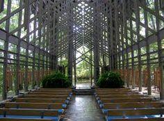 Interior view of Thorncrown Chapel near Eureka Springs, Arkansas