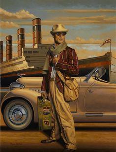 Retro adventure by Peregrine Heathcote Art Deco Posters, Vintage Posters, Vintage Art, 50s Vintage, Vintage Style, Art And Illustration, Art Nouveau, Florence Academy Of Art, Retro Art