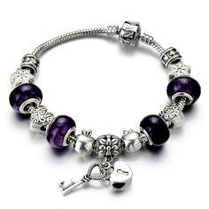 Purple Murano Glass, heart block, Women Girls Charm Bracelet, charm bracelet: Amazon.es: Jewelry