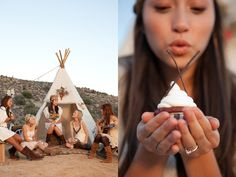 This is such a different and unique idea for a bachelorette party! Set in the Californian desert, this styled party for an Utterly Engaged . Devon, Campfire Cupcakes, Camping Parties, Dream Party, Girls Camp, Girl Shower, Girls Dream, Pinwheels, Girl Scouts