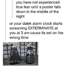 LMBO. I've had a poster fall down in the middle of the night before. Had a little heart attack. But I would definitely have a heart attack with that Dalek alarm clock.