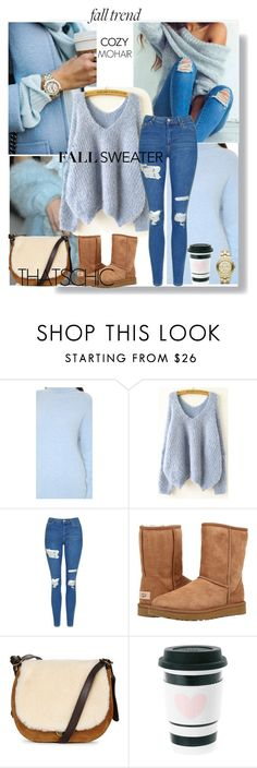 """A Cozy Fall Sweater"" by beleev ❤ liked on Polyvore featuring Topshop, UGG Australia, UGG, Marc Jacobs, uggs, rippedjeans, fallsweaters and thefashioncloset"