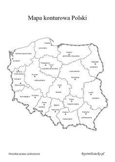 Mapa konturowa Polski z podziałem na województwa do wydrukowania Montessori Materials, Kids Education, Homeschool, Crafts For Kids, Projects To Try, Language, Teacher, Classroom, Notes