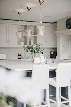 @lydiamillenhome @lydiaemillen uses the Laura Ashley Ockley Bottle Pendant Ceiling Lights to create a stunning statement lighting centrepiece over the Kitchen island.   Tag us @lauraashleyuk on Instagram for your chance to be featured on our social media and website.