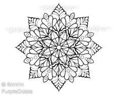 Mandala Flower 6 - Printable Color Page Large JPEG File Art Drawn By Me, Rena - Instant Download