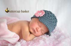 Crochet Newborn Hat, Beanie Cap with brim and flower, charcoal gray, pink. $20.00, via Etsy.