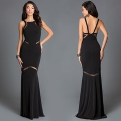 High Neck Floor Length JVN by Jovani Gown