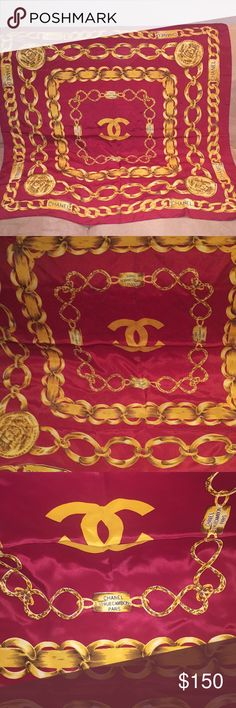 CHANEL designed Scarf Beautiful statement silk scarf, This was a gift to me From my friend. Used it a few times, in a very good condition, burgundy, gold, brown Accessories Scarves & Wraps