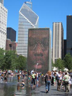 Chicago fountain by Jaume Plensa