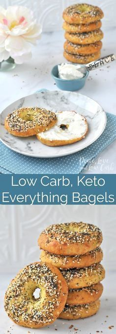 Low Carb 6 net carbs Keto Everything Bagels | Peace Love and Low Carb via @PeaceLoveLoCarb