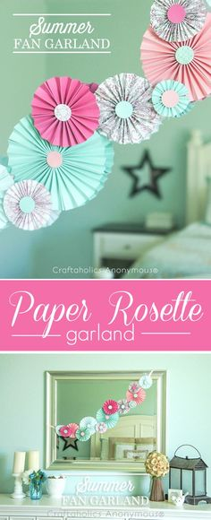 DIY Paper Rosettes or Fans tutorial. Pretty colors. These are great for parties, baby rooms, and everyday decor.
