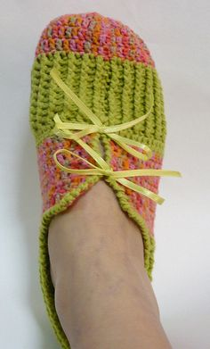 Crochet Adult Slippers - Variegated Pink with Green