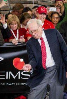 2016 Bill and Cheryl with Warren Buffett at ping pong match at Borsheim's in Omaha, Nebraska.