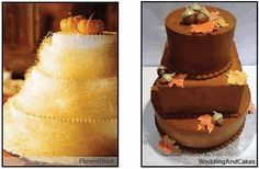 Mini pumpkins, gourds and acorns for fall wedding cakes