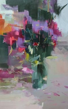 Abstract Art Canvas Painting Vertical Art Modern Floral